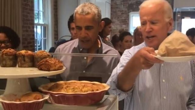 Obama e Biden juntaram-se numa pastelaria, talvez a pensar em 2020