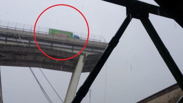 Camião a salvo por segundos em colapso de ponte em Génova