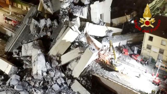 Imagens de drone revelam dimensão da tragédia em Génova