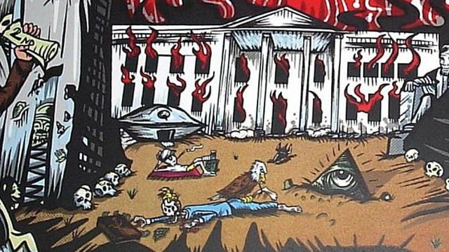 Poster dos Pearl Jam mostra esqueleto de Trump em Casa Branca a arder