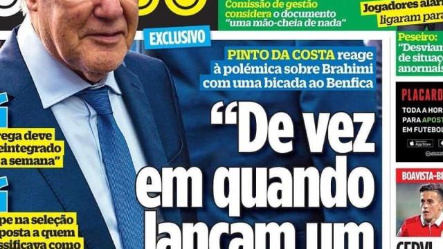 "Por cá: Os recados de Pinto da Costa e o ""remate falhado"" de BdC"