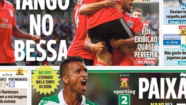 Tango de Pizzi e paixão de Nani dominam a imprensa nacional