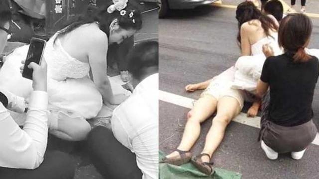 A caminho do altar, noiva sai de carro para salvar pessoa