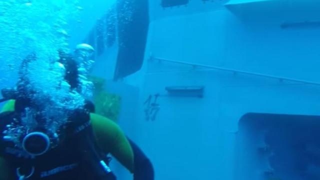 Veja como foi o primeiro mergulho na corveta afundada no Cabo Girão
