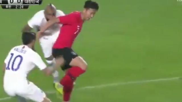 Heung-min 'sentou' Vidal e depois aplicou um 'túnel' do tamanho do Chile