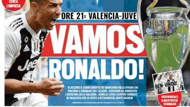 Em dia de estreia, imprensa italiana dá força a CR7 em bom português