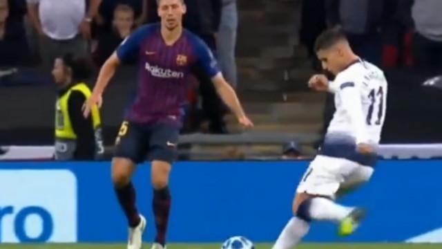 Lamela colocou o Barcelona em sentido com este golo