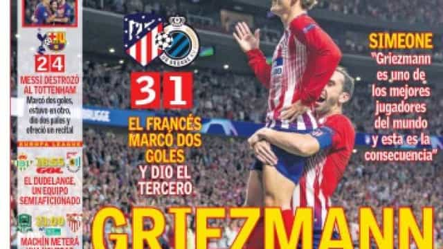 Lá por fora: Griezmann e Messi como 'estrelas' da noite europeia