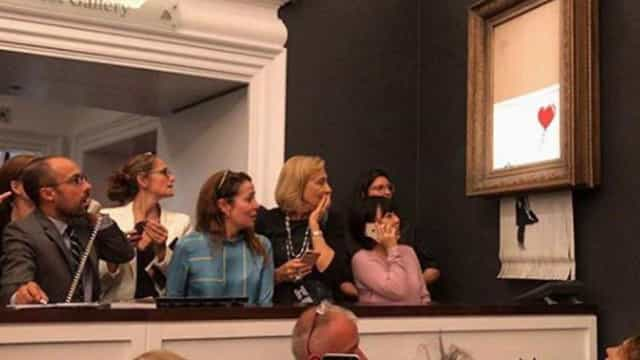 Banksy mostra como destruiu o seu quadro a meio de um leilão
