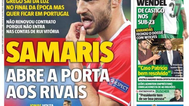 Capas: Samaris abre porta a rivais, mudança em Alcochete e André Pereira