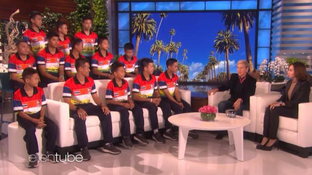 Ellen DeGeneres recebe jovens resgatados de gruta na Tailândia