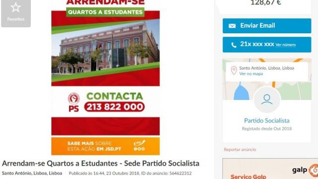JSD publicou anúncio a 'arrendar' quartos na sede do PS