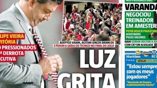 Capas: Crise no Benfica domina manchetes