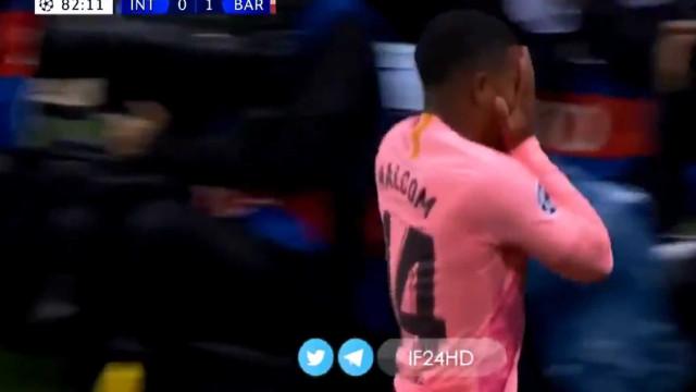 Malcom estreia-se a marcar pelo Barça e reage de forma emocionada