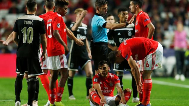 Benfica explica lesão de Salvio, contraída no embate com o Ajax