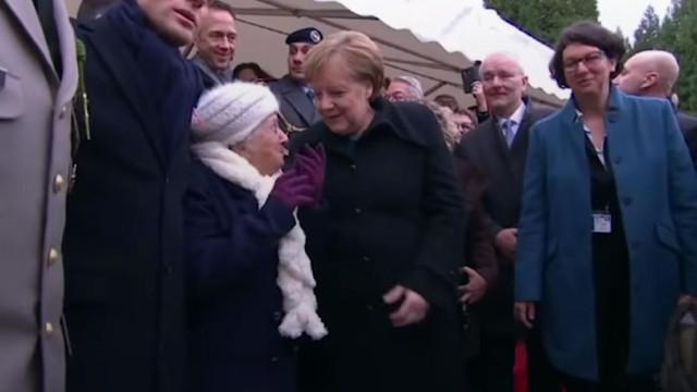 Idosa de 101 anos confunde Merkel com esposa de Macron em momento cómico