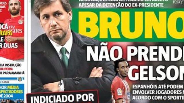 Imprensa nacional: Bruno de Carvalho domina atualidade