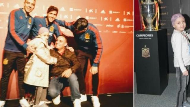 O gesto de Morata, Aspas e Roberto com menina com doença oncológica