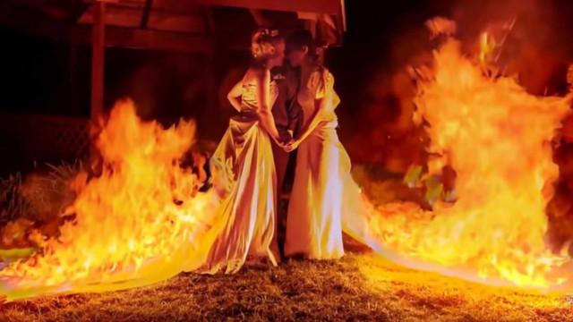 Estas noivas decidiram tornar o seu casamento... (literalmente) fogoso