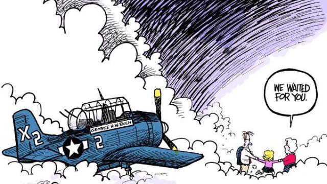Cartoon tocante de reencontro de Bush com família torna-se viral