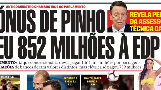 """Hoje é notícia: """"Bónus de Pinho deu milhões à EDP"""" e """"Seg. Social ameaça"""""""