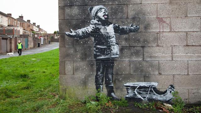 O postal de boas festas de Banksy que deixa um gosto amargo na boca