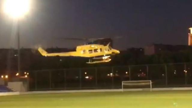 Helicóptero do INEM aterra em campo de futebol. Heliporto não tinha luz