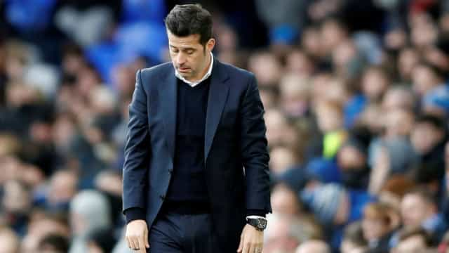Marco Silva desolado na flash interview após nova derrota do Everton