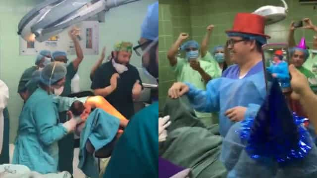 Médicos celebram Ano Novo na sala de parto enquanto mulher dá à luz