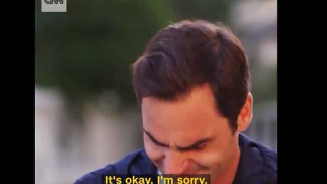 Federer desfez-se em lágrimas num momento arrepiante de televisão