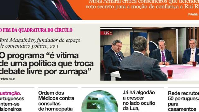 """Hoje é notícia: """"Fim da Quadratura""""; """"Bodyboarder desaparecido regressa"""""""