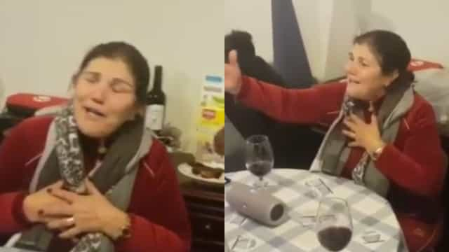 Emocionada, Dolores Aveiro canta fado em encontro de amigos
