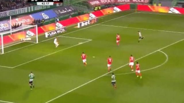 Bomba de Bruno Fernandes reduz diferença no Sporting-Benfica para um golo