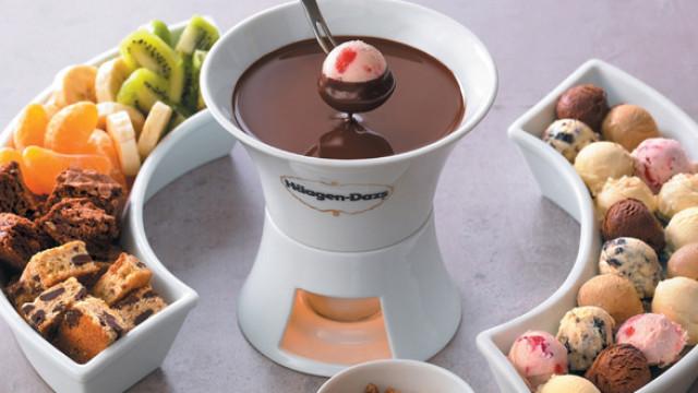 Gelados Häagen-Dazs em fondue para o São Valentim