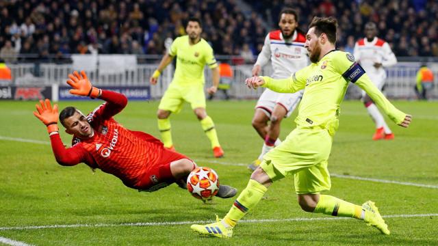 Barcelona empata em Lyon com guarda-redes luso a fazer de... 'espetador'