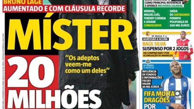 """Por cá: Bruno Lage, o """"mister 20 milhões"""" e Herrera de """"corpo e armas"""""""
