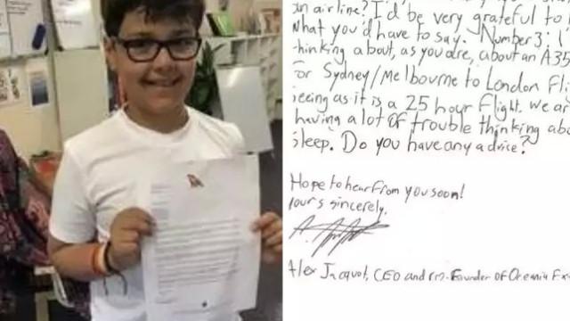 Menino escreve carta a CEO de companhia aérea e recebe a melhor resposta