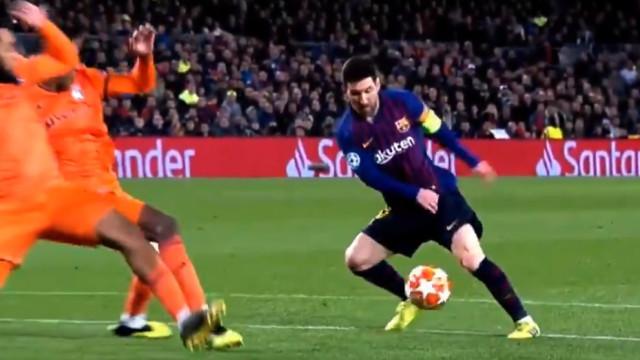 Pura magia de Messi. Craque do Barça fez o que quis da defesa do Lyon