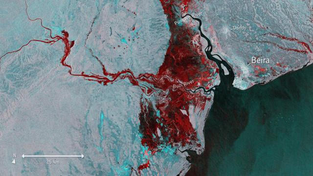 Imagem satélite revela dimensão da inundação em Moçambique