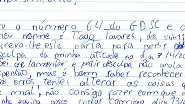 Jovem português foi expulso e depois escreveu uma carta ao árbitro
