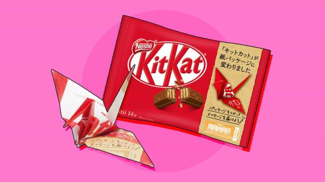 A nova embalagem do KitKat é de papel e transforma-se em origami