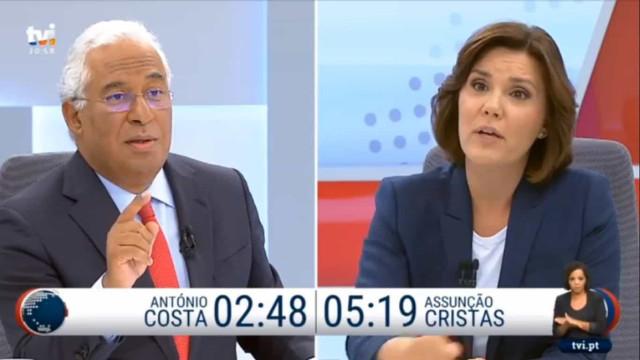 Debate Costa - Cristas na TVI teve 935 mil espetadores
