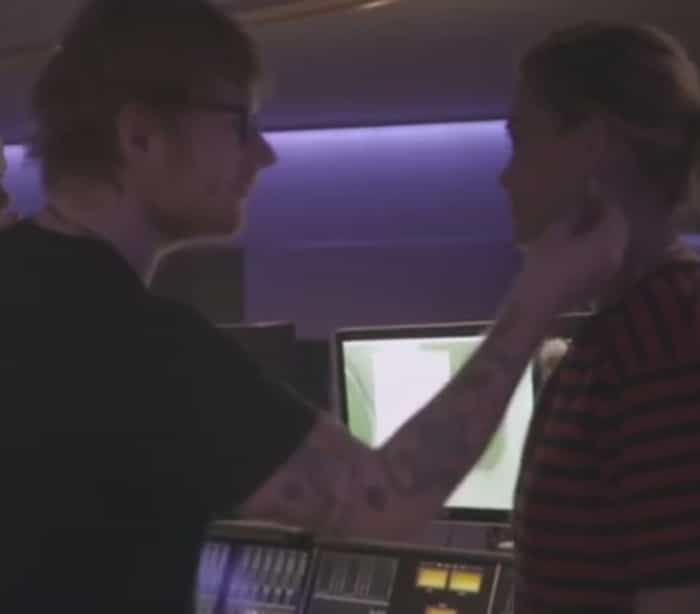 Rita Ora e Ed Sheeran nas gravações da nova música da cantora
