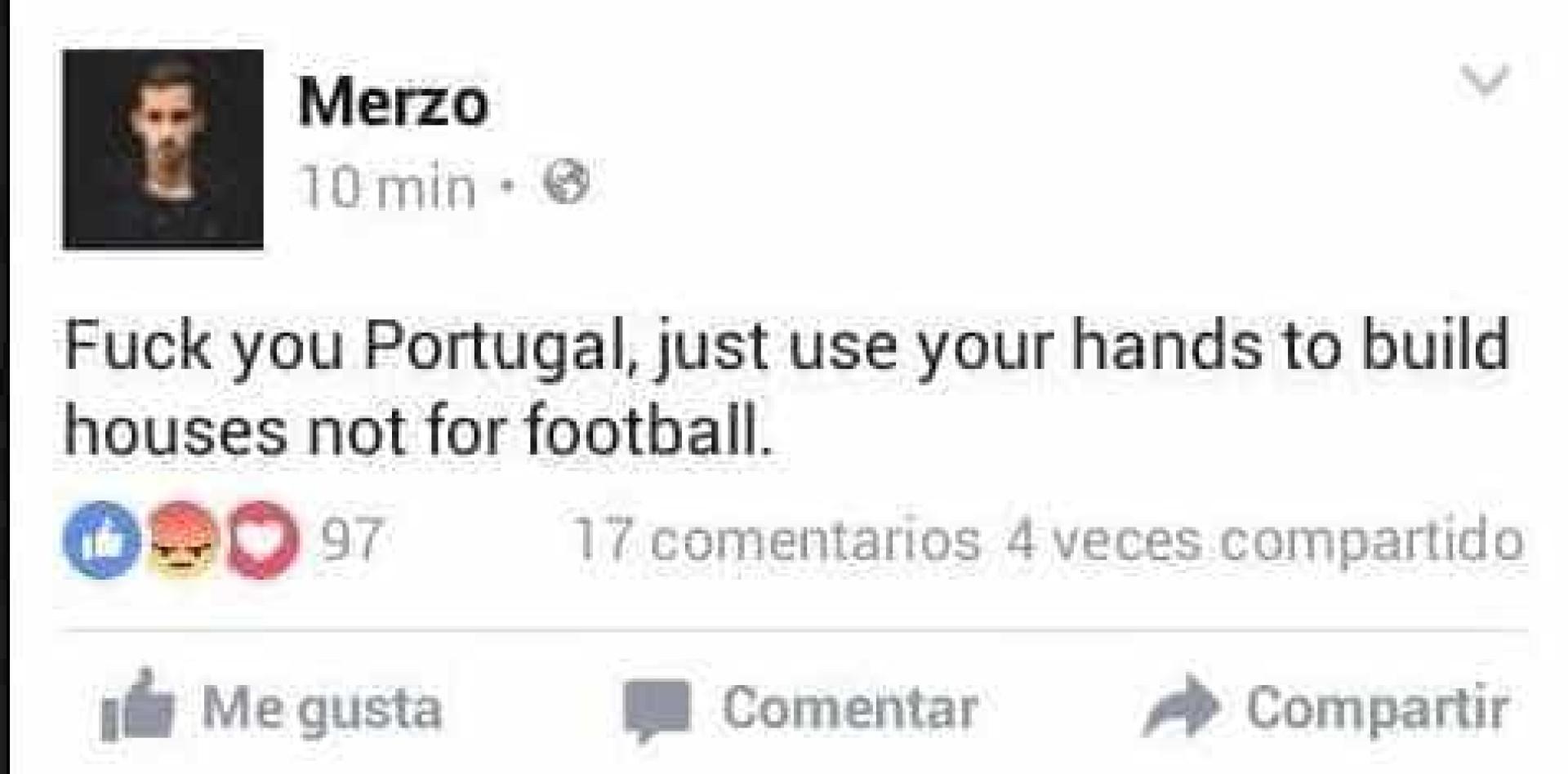 """""""Usem as mãos para construir casas e não para o futebol"""""""