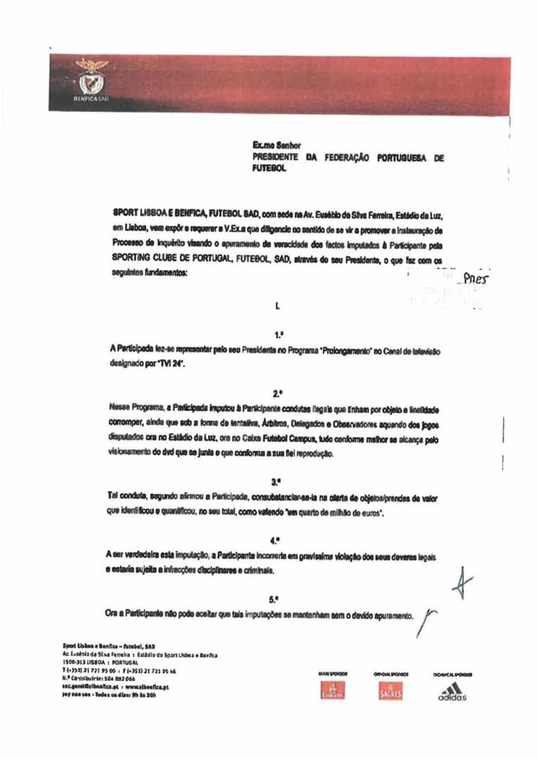 A prova que o Benfica pediu à FPF para investigar o caso dos 'vouchers'