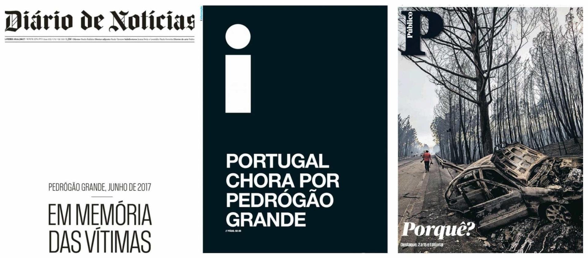 Pedrógão Grande: Luto na primeira página dos jornais nacionais