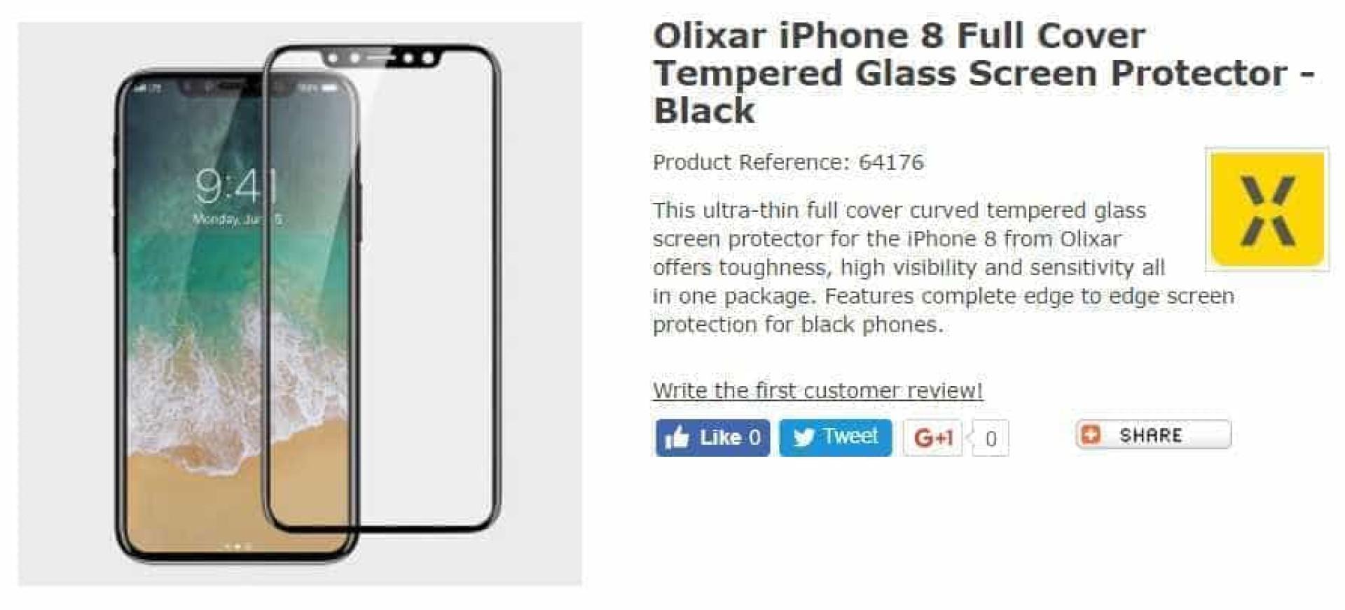 Protetor de ecrã confirma aspeto do iPhone 8
