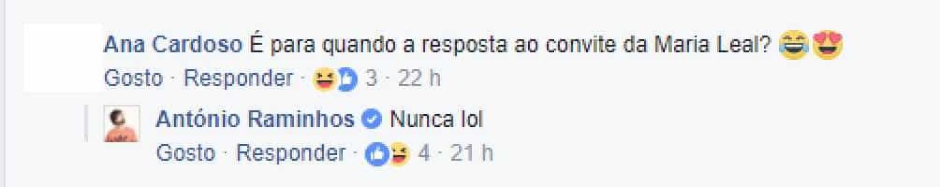 Raminhos deixa Maria Leal sem resposta