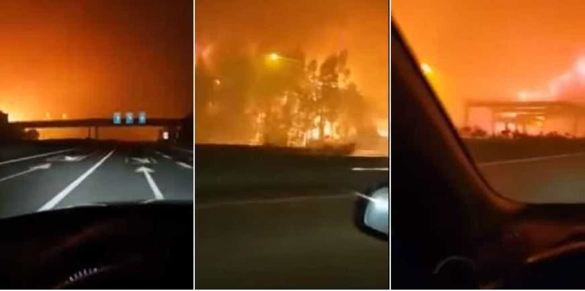 Vídeo mostra automobilista a fugir às chamas na autoestrada