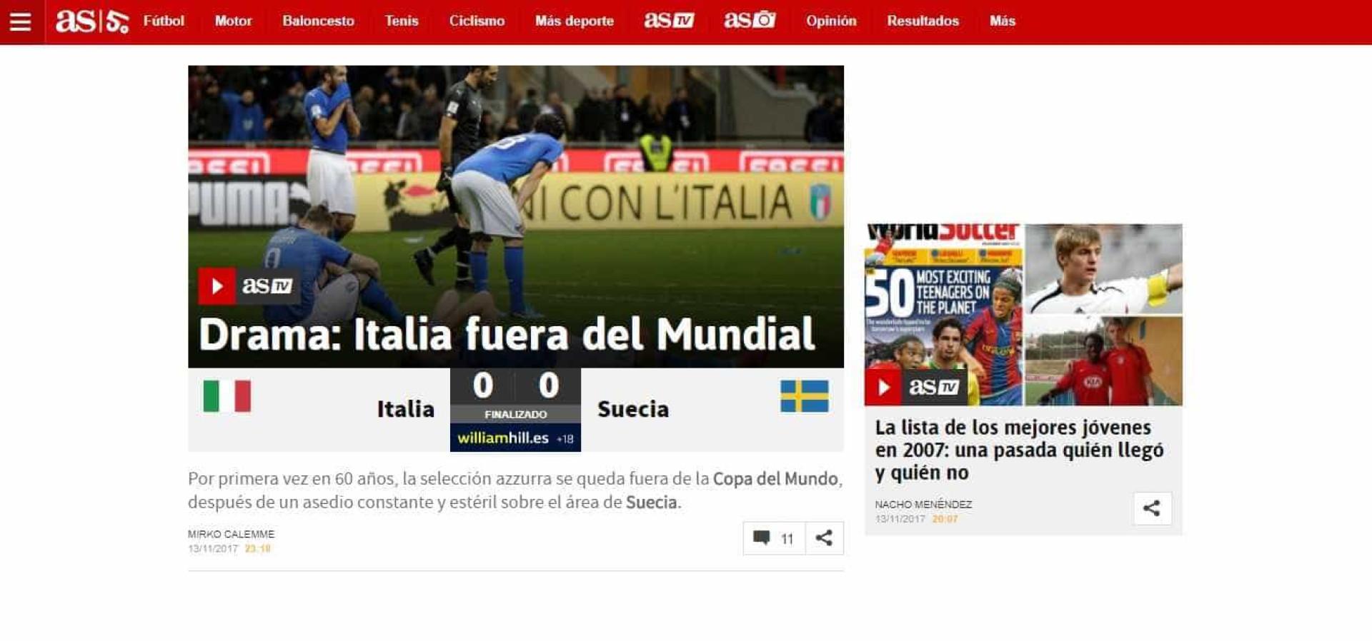 """Do """"drama"""" ao """"apocalipse"""": A Europa viu assim a eliminação de Itália"""